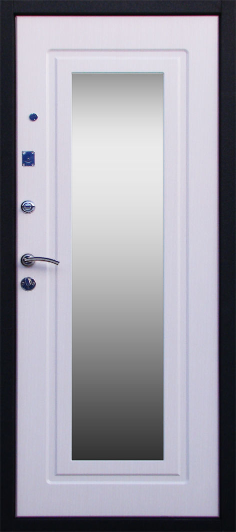 металлические входные двери белая с зеркалом изнутри